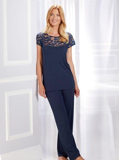 0575 - Marineblau - Eleganter Schlafanzug