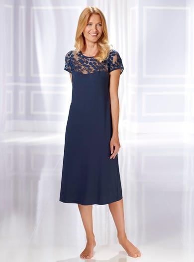 0576 - Marineblau - Modernes Spitzennachthemd