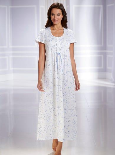 0821 - Konfetti - Nachtkleid mit Bindeband im Rücken