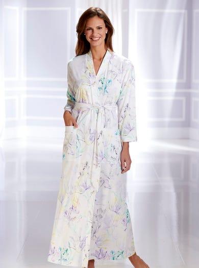 0858 - Wasserfarbe - Weicher Kimonohausmantel