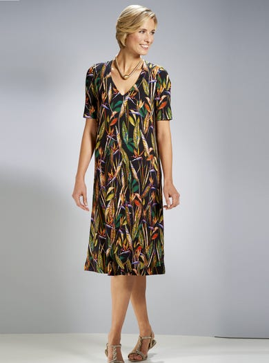 3863 - Paradiesvogel - Bequemes Kleid aus Stretchjersey