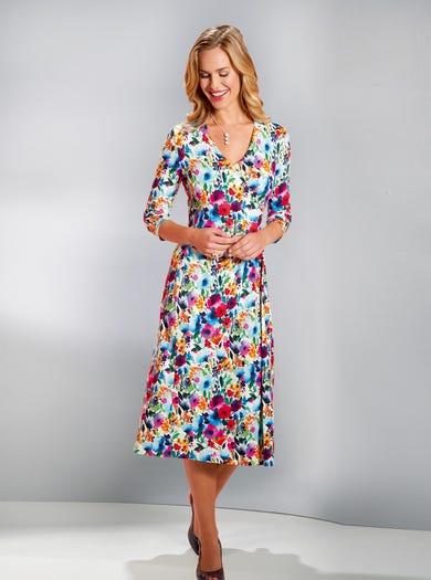4563 - Sommerblüten - Kleid in Scheinwickeldesign