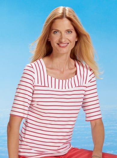 4900 - Melone - Streifen-T-Shirt aus weichem Jersey