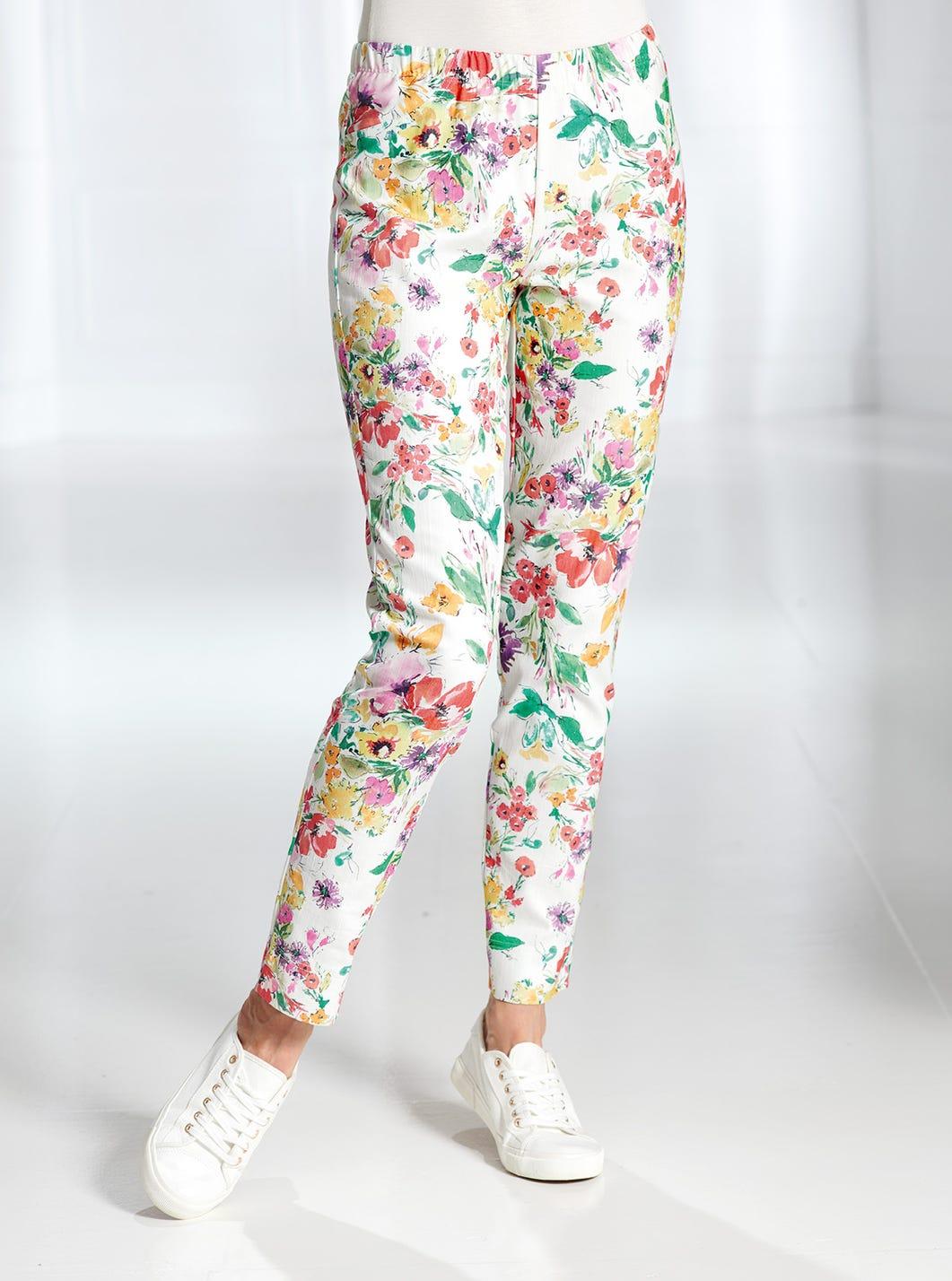 Pantalon en denim coton stretch fleuri