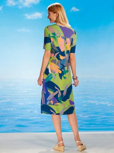 6443 - Tropenpflanzen - Kleid aus Stretchjersey