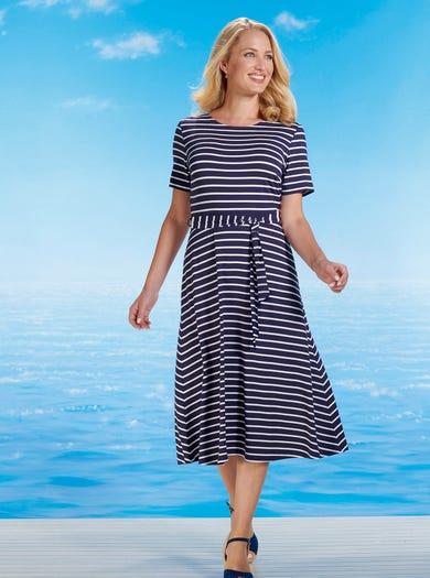 6463 - Marine/Elfenbein - Kleid aus Stretchjersey