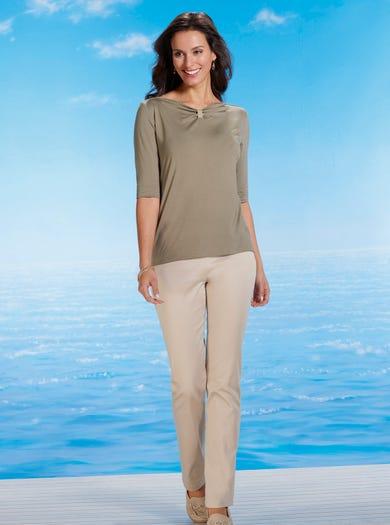 7208 - Sand - Leger Hose aus Baumwollsatin