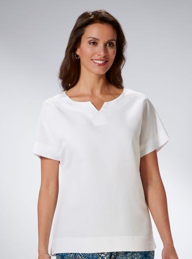 7531 - Weiches Weiß - Modernes T-Shirt aus Leinenmix