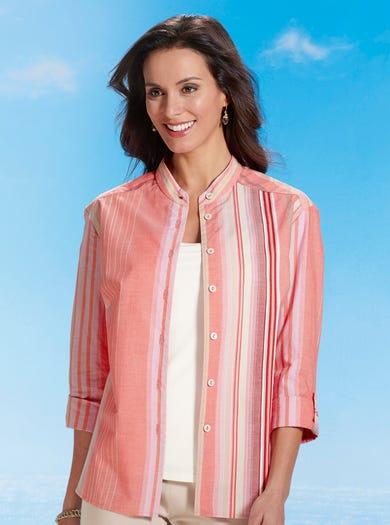 7582 - Korallenrosa - Shirt aus gewebter Baumwolle
