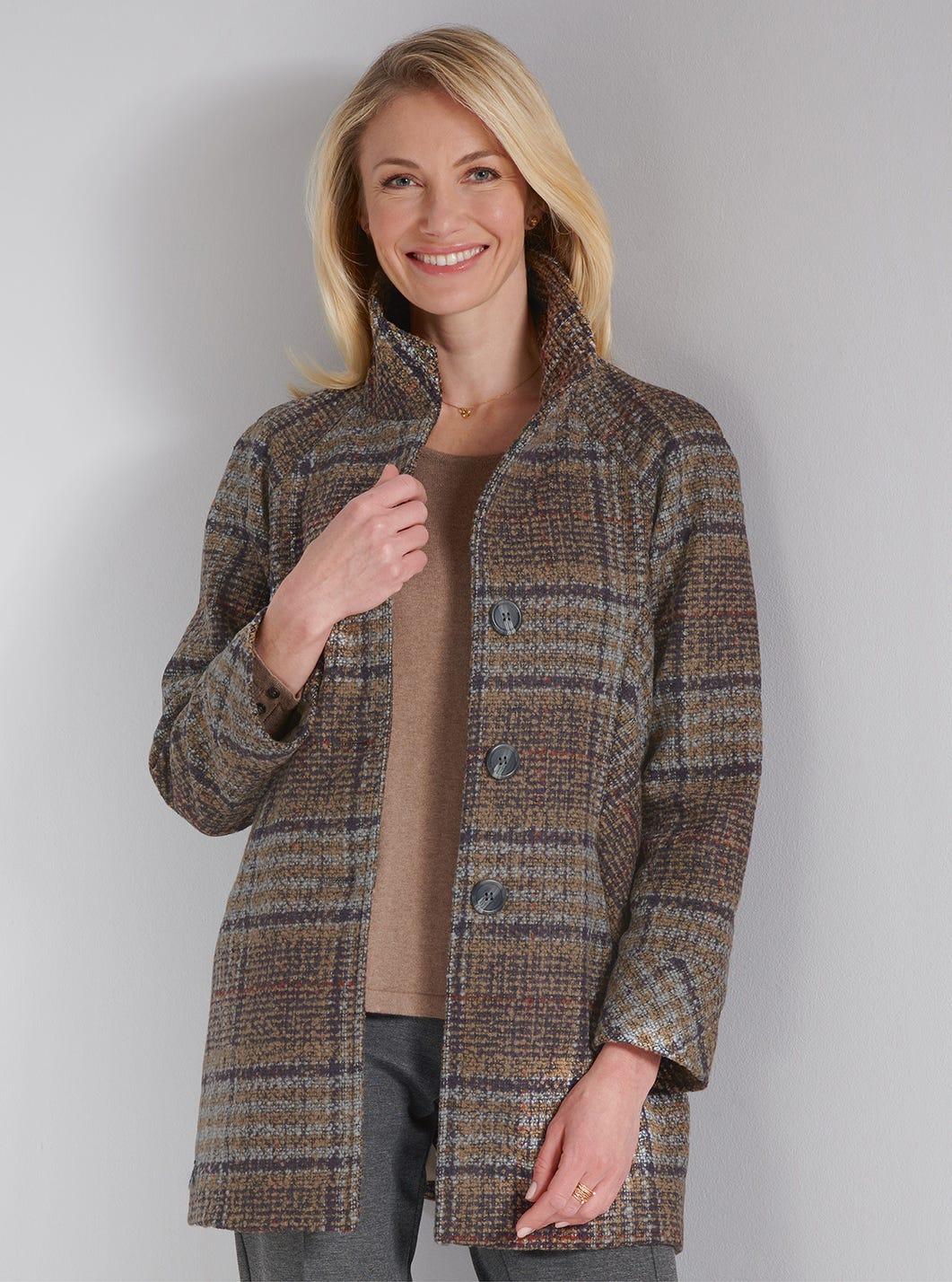 Mantel in Tweed-Look