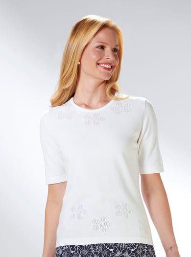 9225 - Weiß - Zarter Pulli aus reiner Baumwolle
